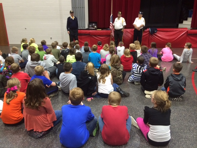 Veterans from the Tiffin/Bloomville area teach 4th grade about flag etiquette